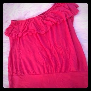 Girly pink one shoulder tank top
